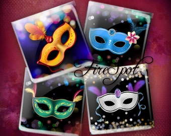 Mask Makeup mask - Digital Collage Sheet 1.5 inch 1 inch 25 mm 20 mm Squares Instant Download Glass Pendants Scrapbooking