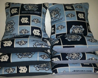 Set Of 8 UNC University Of North Carolina Cornhole Bean Bags FREE SHIPPING