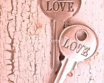 "Key Photography, Key Art, Shabby Cottage Chic, Pink Love Print, Romantic Photo, Old Key Art, Rustic Decor, Farmhouse, Valentine- ""Love Pink"""