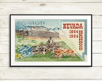 las vegas strip posters, Nevada state wall decor, vintage nevada wall art, unique nevada birthday gift, nevada state post cards