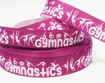 "7/8"" inch Gymnastics Gymnast White Silhouettes Sports Printed Grosgrain Ribbon for Hair Bow - Original Design"