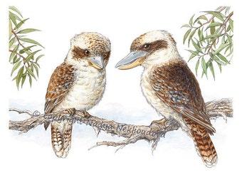 Kookaburras - Australian Wildlife Fine Art Print, Australian nature decor, woodland bird painting, Australian art watercolour bird art print