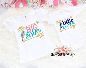 Big Sister Little Brother Shirts, Little Brother Shirt, Big Sister Shirt, Baby Shower Big Sister Gift, Sister Brother Silbing Set BS6LB2