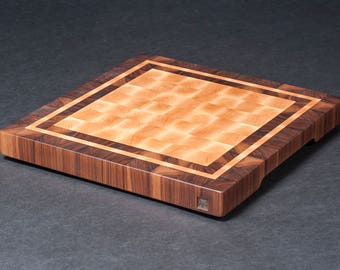 LW0062 - Hard Maple End Grain Cutting Board with Walnut and Maple Frames
