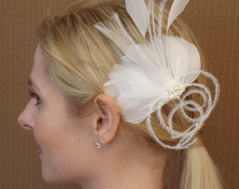 White Bridal Feather Fascinator with rhinestone piece - READY TO SHIP