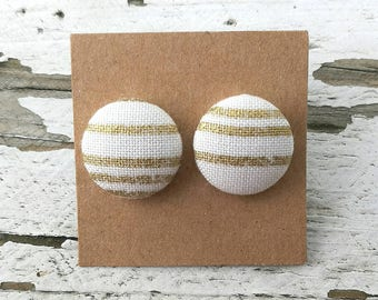 Fabric Button Post Earrings - Gold and White Stripes- Modern - 5/8""