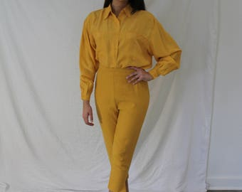 Bright Yellow Silk Blouse Dress Shirt Loose Baggy Fit - Vintage