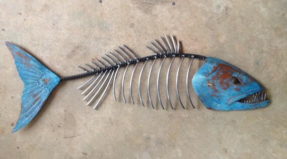Chops Fish  Metal  Sculpture 36in Beach Coastal Tropical Art