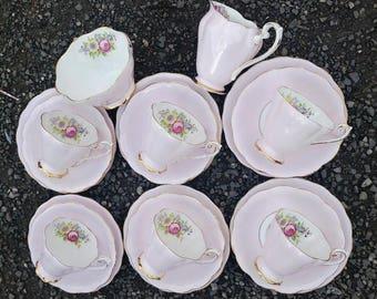 Vintage Royal Standard Pale / Pastel / Baby Pink Harlequin China Tea Set Cups Saucers Side Plates Milk Sugar - Tea Party Wedding Crockery