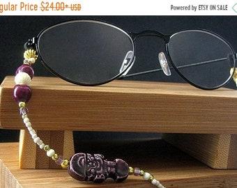 MOTHERS DAY SALE Glasses Lanyard or Badge Holder. Beaded Lanyard with Purple Tiki Beads, Bone Beads and Jobs Tears. Purple Eyeglass Chain. H