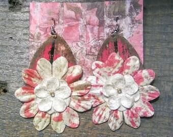 Vintage-Styled Pink Flowered Earrings