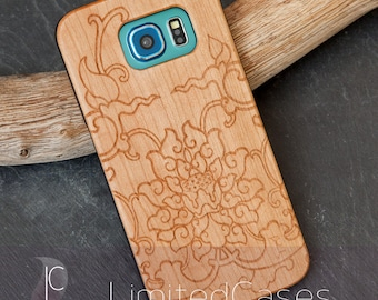 "Case for Samsung Galaxy S6 with cherry Edition, laser-engraved ""Lotus"""