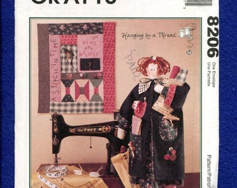 McCall's 8206 Sewing Room Rag Doll & Quilt Pattern UNCUT