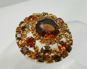 Shades Of Brown Rhinestone Pin