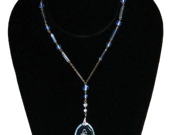 Vintage 1930s Czech Art Deco Blue Beaded Pendant Necklace