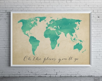 Modern graphic prints wall art home decor by wordbirdshop on etsy watercolor map oh the places youll go inspirational art nursery decor gumiabroncs Image collections