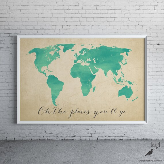 Watercolor map oh the places youll go inspirational watercolor map oh the places youll go inspirational art nursery decor world map poster map art home decor digital watercolor painting gumiabroncs Image collections