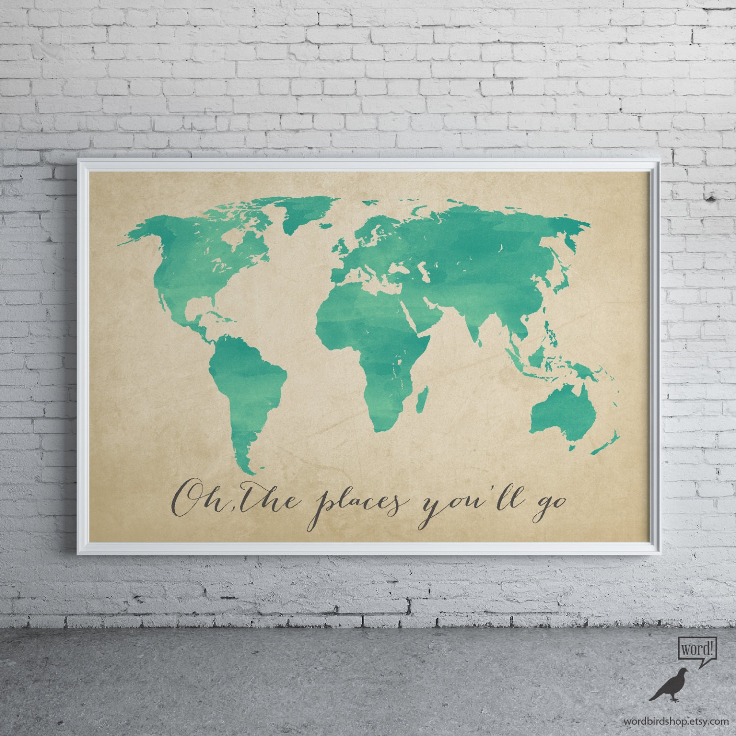 Watercolor map oh the places youll go inspirational zoom gumiabroncs Gallery