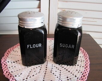 Hocking Black Sugar and Flour Shakers / Depression Era Flour and Sugar Shaker