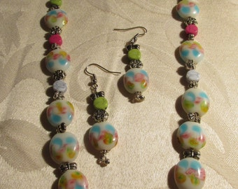 White with pink, green, and blue Glass Bead Necklace and Earring Set (N135)