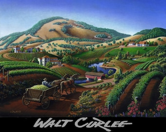Limited Edition Print, Wine Country Landscape, Walt Curlee Napa Valley Wall Decor, California Vineyard Folk Art Landscape Fine Art Americana
