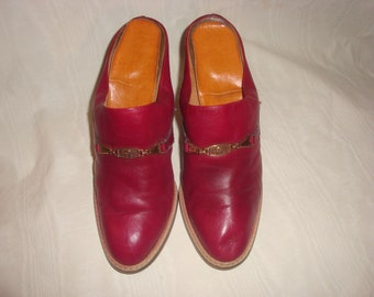 Burgundy Leather Etienne Aigner Mules 8M