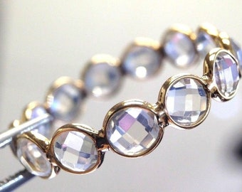 18K Yellow Gold Glowing Rose Cut Moonstone Eternity Ring Band Size 7.5
