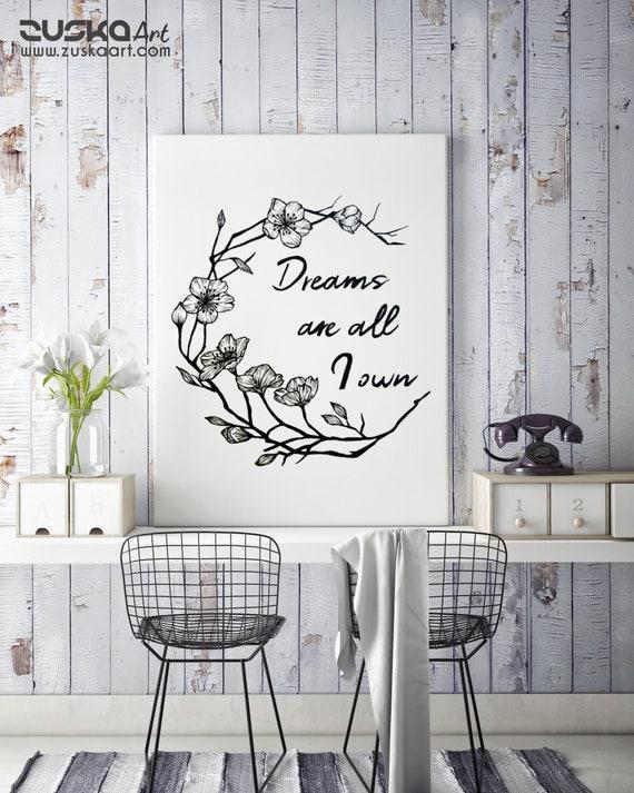 Dreams are all I own | Framed Canvas | Typography Art | Cherry Tree Flowers | Geometric Art | Ink Tattoo style | Original Artwork | ZuskaArt