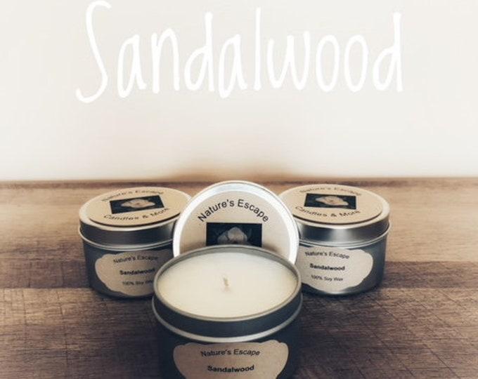 Sandalwood Soy Wax 6 oz. Candle Tins