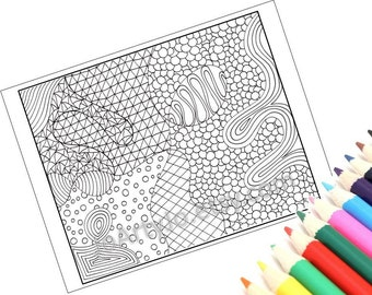Coloring Page, Printable Zentangle Inspired PDF Zendoodle Pattern, Page 29