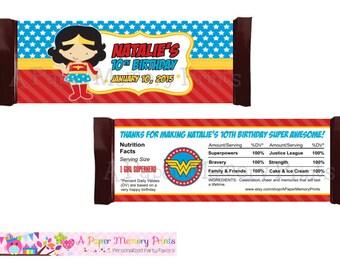 Superhero Girl Candy Wrapper - DIY Printable