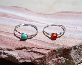 wire wrapped ring, wire ring, beaded wire ring, beaded ring, boho ring, simple ring, elegant ring, handmade ring