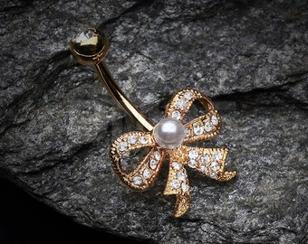 Golden Bow-Tie Splendid Belly Button Ring