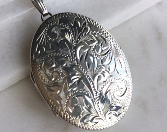 Vintage Sterling Silver Double Locket Pendant Necklace