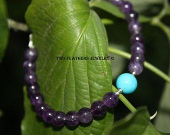 Gemstone And Silver Bracelet - Amethyst Bracelet - Sleeping Beauty Turquoise Bracelet - February December Birthstone - 6th 11th Anniversary