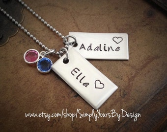 Baby Name Jewelry - Stamped Children's Names Necklace for Mom - Mommy Necklace - Push Present Necklace - Baby Name Necklace for Mom