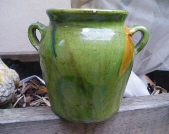RARE small (6.29 inches) CONFIT POT / Jar Antique / French Provence green Glazed Pottery / 1900