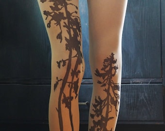 Forest tights patterned pantyhose