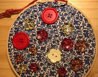 Embroidery Hoop Art - Red and Yellow on Blue Flowers