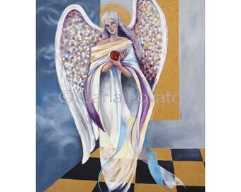 Angel painting, oil painting, oil on canvas, surreal painting, Giclee print, spiritual art, angel wings,