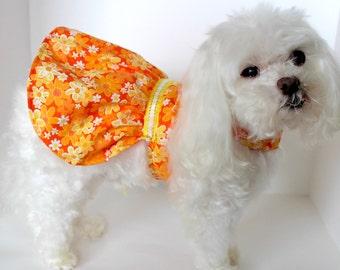 Summer Dog Dress, XS Pretty Orange Yellow Floral Lightweight Dog dresses, designer fashion dog clothes, Ready to Ship