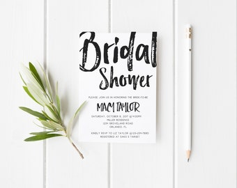 Black and White Modern Bridal Shower Invitation Wedding Party Invitation Hens Party Bachelorette Party Invite Minimalist Bridal Shower