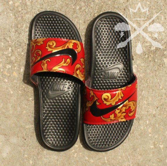Nike Custom Red Supreme Foamposite Benassi Swoosh Slide Sandals Flip flops  Men's