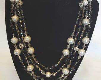 Multi Strand Black Crystal and Pearl Necklace by White House Black Market.