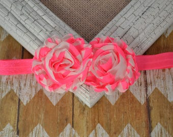 Neon pink headband, neon pink flower headband, neon flower headband, baby headband, infant headband, toddler headband, girls headband