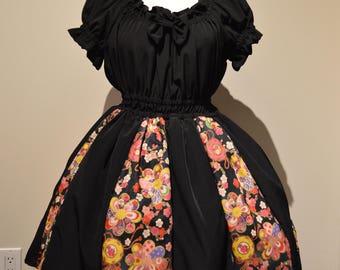 Black Wa Japanese Print One Piece Dress - S/M Lolita fashion Japan
