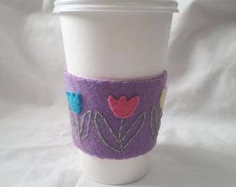 Hand Stitched and Embroidered Applique Spring Tulips Felt Coffee Cozy