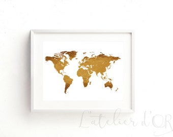World Map Gold Print Wall Decor Gift Art Gold Foil