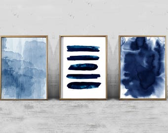 Abstract Watercolor Set Minimalist Art Navy Blue Wall Art Indigo Stripes Brush stroke Minimal Contemporary art Modern Printable Boho Decor