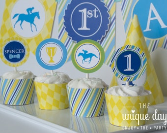 Kentucky Derby Birthday - Dapper Derby - horse racing - jockey themed - Cupcake Toppers - Printable Cupcake Toppers - Personalized // DER -0